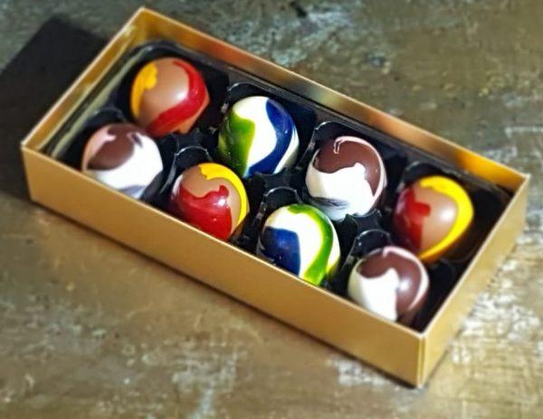 personalised chocolate gift Box of 8 salted caramel chocolates