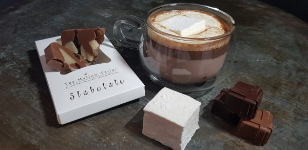 Hot chocolate with mallow and personalised chocolate bar