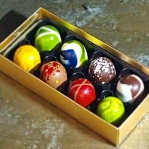 Personalised chocolate gift box of 8 luxury handmade chocolates