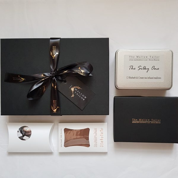 Chocolate gift hamper with box of luxury handmade chocolates a luxury handmade chocolate slab a hot chocolate and a tin of 12 marshmallow