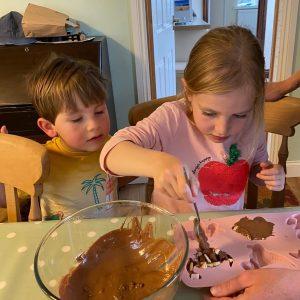 kids working on the kids chocolate making kit