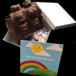 kids chocolate making kit contents on display